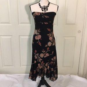 Dresses & Skirts - Black floral strapless dress